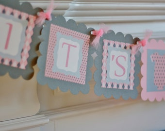 """Baby Shower Pink & Gray Polka Dot Argyle Bodysuit One Piece """"It's a Girl"""" Baby Shower Banner - Ask About Party Pack Specials"""