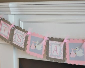 "Baby Shower Pink & Grey Stork Theme ""It's a Girl"" Baby Shower Banner - Ask About Party Pack Specials"