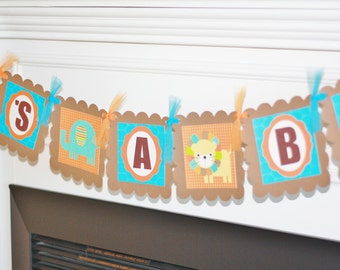 "Mod Jungle Zoo Blue, Brown & Orange Baby Shower ""It's A Boy"" OR Custom Name Banner"