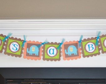 "Mod Jungle Zoo Elephant Green, Brown & Orange Baby Shower Custom Name or ""It's A Boy"" Banner"