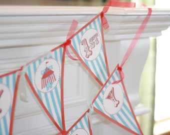 Happy Birthday Pennant Flag Red & Blue Vintage Circus Theme Banner Including Age - Red Yellow Available Too - Free Ship Over 65.00