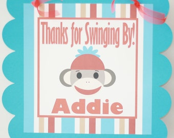 Pink or Red/Blue Sock Monkey Birthday Door Sign - CUSTOM - Ask about our Party Pack Specials - Free Ship Over 60.00