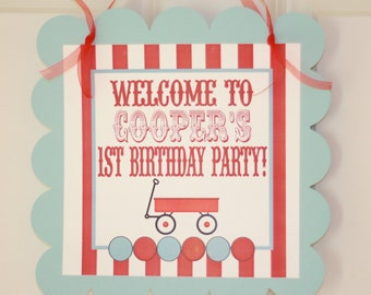 Vintage Race Car or Red Wagon Theme Birthday Door Sign - Ask about our Party Pack Specials - Free Ship Over 65.00