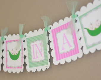 """Twins  """"Two Peas in a Pod"""" or """"Pea in the Pod"""" Baby Shower Banner Pink and Green - Matching Toppers, Tags, & Door Sign Available"""