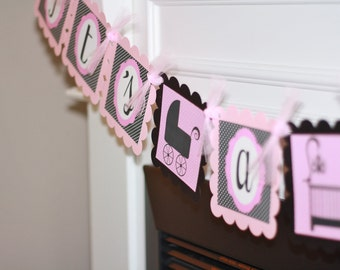 "Elegant Pink & Black Baby Shower ""It's A Girl"" or ""Mom to Be"" Banner - Ask About Party Pack SALE"
