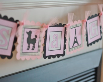 """Paris Poodle French Pink & Black Baby Shower """"It's A Girl"""" Banner - Ask About our Party Pack Special"""