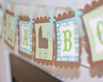 """Elegant Brown and Green/Blue and Brown Crib Buggy Chandalier Baby Shower """"It's A Girl"""" or """"It's A Boy"""" OR Custom Name Banner"""