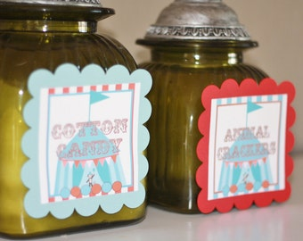 4 - Red & Blue Vintage Circus Carnival Theme Birthday Jar Bottle Decorations Signs - Can do these with ANY theme in my Shop