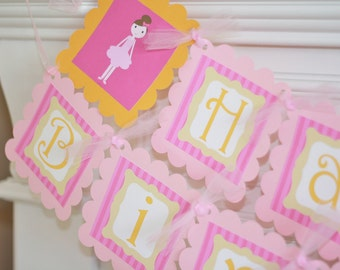 Happy Birthday Hot Pink and Orange Ballerina Ballet Dance Banner - Matching Cupcake Toppers, Favor Tags, Place Cards & Door Sign Available