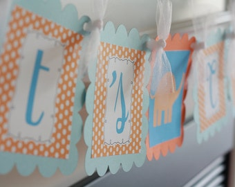 "Polka Dot ""It's Twins"" or ""Its a Boy"" Elephant Baby Shower Banner - Other Color Options - Party Pack Specials Available"