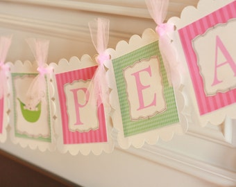 """Pink and Green """"Sweet Pea"""" or """"It's a Girl"""" Baby Shower Banner - Matching Toppers, Tags, & Door Sign Available"""