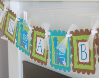 """Farm Barnyard Animals Blue Green and Brown Baby Shower """"It's a Boy"""" or Custom Name Banner"""