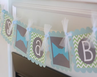 "Mustache Bash Bowtie Baby Shower or Birthday Chevron ""Little Man"" or ""Its a Boy"" Banner Light Blue, Grey and Green - Free Ship over 65"