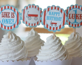 12 Red & Blue Little Red Wagon Theme Birthday Cupcake Toppers - Ask About our Party Pack Sale - Free Ship Over 65.00