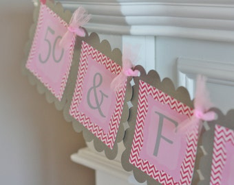 Happy Birthday Chevron 50 & Fabulous Theme Banner - Can Also Be a Bachelorette Banner - Free Ship Over 65.00