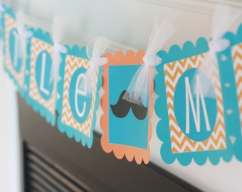 """Mustache Bash Baby Shower or Birthday Chevron """"Little Man"""" or """"Its a Boy"""" Banner Turquoise - Orange - Ask About our Party Pack Special"""