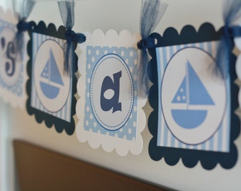 """Ahoy """"It's a Boy"""" or Custom Name Baby Shower Sailboat Nautical Banner - Ask About our Party Pack Special"""