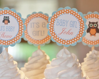 12  - Orange Blue Baby Shower Owl Theme Cupcake or Cake Toppers - Ask About our Party Pack Special - Free Ship Over 65.00
