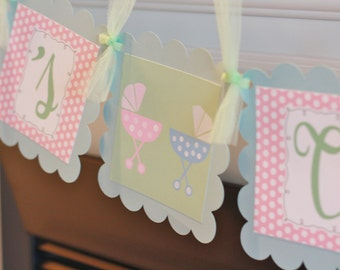 """Polka Dot Print """"It's Twins"""" or """"Baby Shower"""" Boy Girl Twins Baby Shower Banner - Other Color Options - Party Pack Specials Available"""