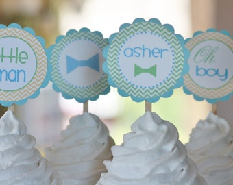 """12 - Little Man """"Oh Boy"""" Bowtie Green Yellow Blue Theme Baby Shower Chevron Cupcake or Cake Toppers- Ask About our Party Pack Sale"""