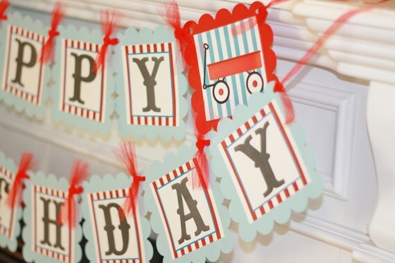 Happy Birthday Little Red Wagon or Vintage Tricycle, Race Car, Train, Theme Banner - Party Pack Specials - Free Ship Over 65.00