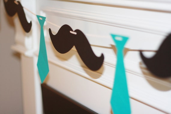 Little Man Ties and Mustaches Theme Baby Shower or Birthday Garland Banner - You Pick Your Colors - Free Ship Over 65.00