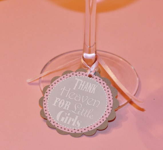 12 Baby Shower Favor Tags - Glass Tags - Pink Grey or Blue Grey Thank Heaven for Little Girls or Boys - Blue Grey Boy Available