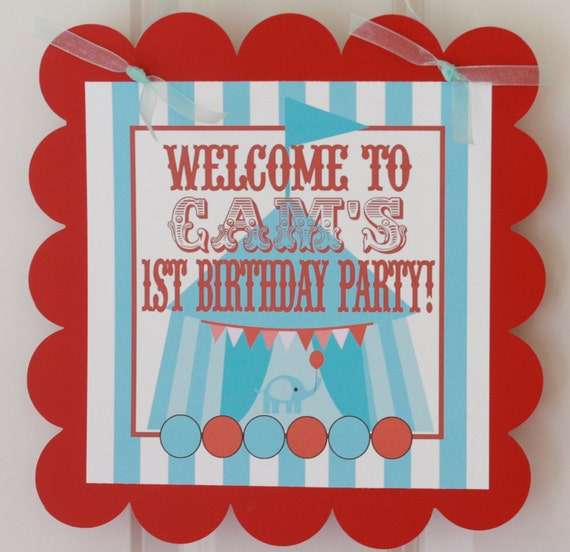 Vintage Circus Red & Blue Theme Birthday Door Sign - Other Color Schemes Available - CUSTOM - Free Ship Over 65.00