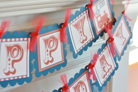 Happy Birthday Vintage Train Navy and Red Theme Banner - Ask about Our Party Pack Special - Free Ship Over 65.00
