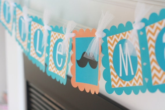 "Mustache Bash Baby Shower or Birthday Chevron ""Little Man"" or ""Its a Boy"" Banner Turquoise - Orange - Ask About our Party Pack Special"