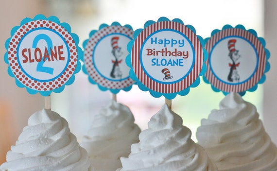 12 - Doctor Cat Theme Birthday or Baby Shower Cupcake or Cake Toppers - Ask About our Party Pack Sale - Free Ship Over 65.00