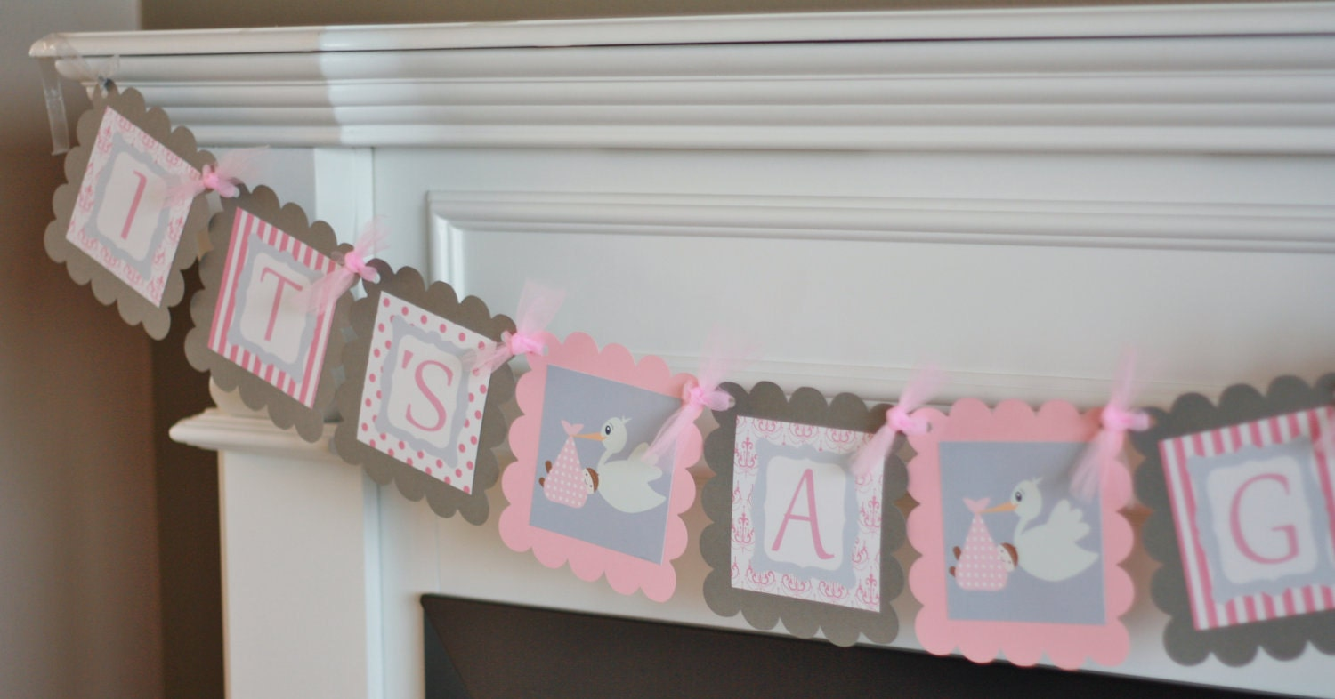 baby shower pink grey stork theme it 39 s a