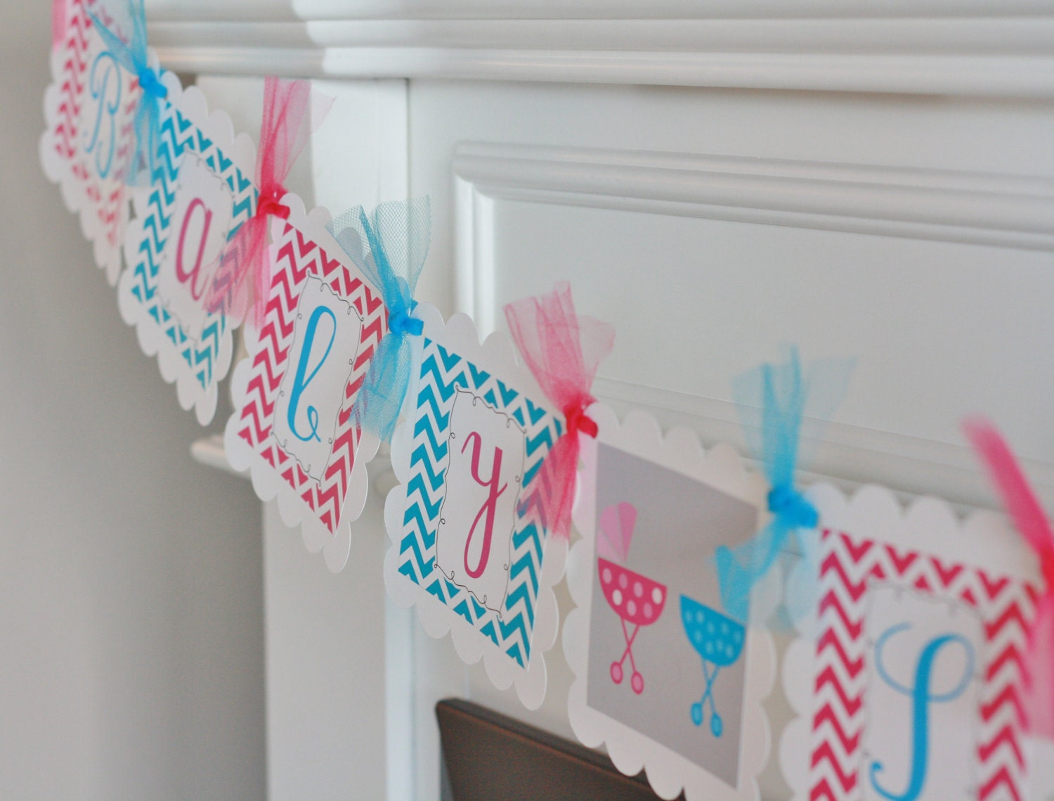 12 Chevron Boy Girl Twins Pink Blue Theme Baby Shower Cupcake