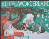 "1933 ""Alice in Wonderland"" matted sheet music illustration"