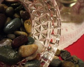 Vintage Clear Glass Pressed Diamond Collar Apothecary Jar