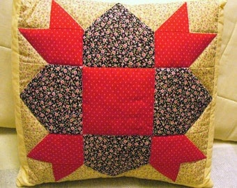 Weathervane Quilted Cotton Red Pink Flowers Black Yellow Accent Patchwork Pillow Sham Cottage Decor Pink Tan Green