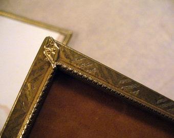 Brass Embossed Vintage Gold-Toned Metal Picture Frame Cottage Decor Art Deco