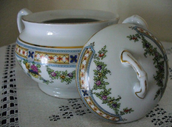 Delicate Graceful Pink Yellow Blue Green FloraL Bavarian China:  H & Co. pattern 10899, Lidded Sugar Bowl and Creamer