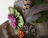 Vintage Weathered Witch Hat Adorned With Pheasant And Rooster Feathers, Burlap, Purple, Green, Orange and Black Gingham Rosettes With Button