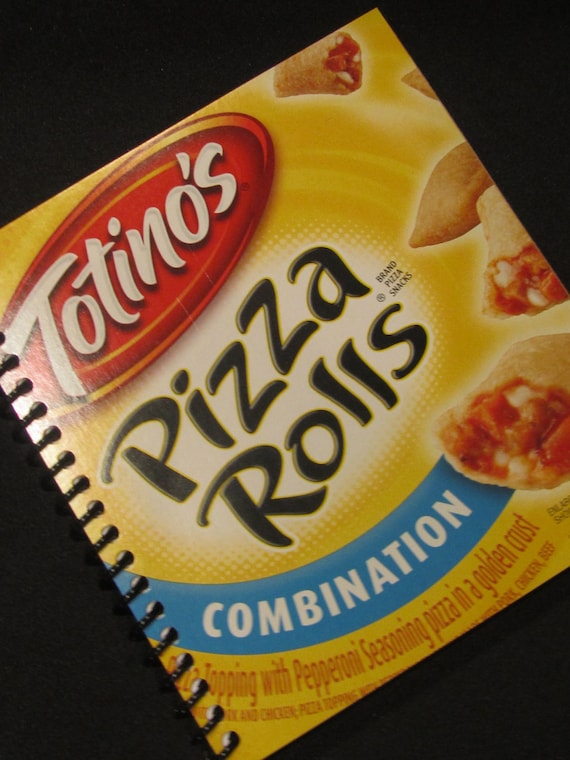 ITALIAN  PIZZA Journal Diary Notebook Upcycled Recycled Spiral Bound Tortino's Pizza Rolls