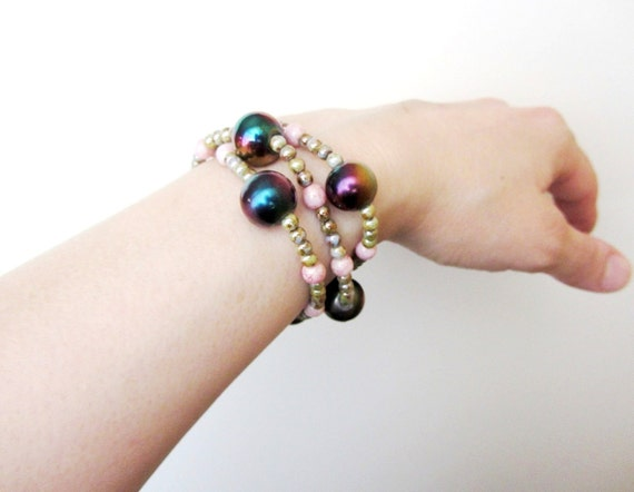 Beaded Bracelet, Glass Bead Bracelet, Copper Czech Beads, Bohemian Jewelry