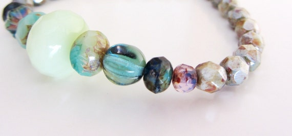 Beaded Bracelet, Beaded Glass Bracelet, Mint Bracelet, Czech Glass Beads, Bohemian Jewelry