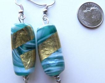 Beaded Dangle Earrings, Green & Gold