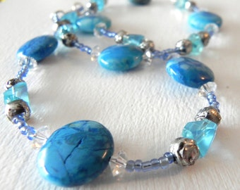 Blue Stone & Crystal Necklace