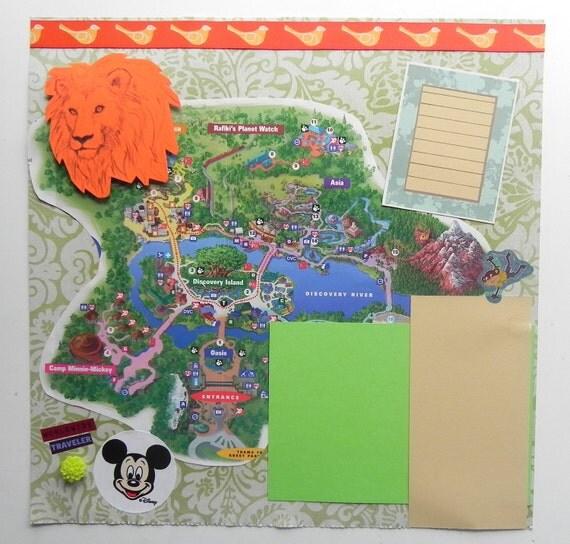 Disney Animal Kingdom Scrapbook Page, Premade 12x12