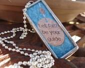 Glass Glitter Cross/ Faith Soldered Charm Necklace