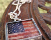 Old Glory Vintage American Flag Shadowbox Soldered Charm Necklace