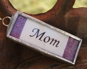 "Lavender Glass Glitter ""MOM"" Soldered Charm Necklace"