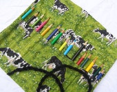 Unique Cow Pattern Roll-up Colored Pencil Holder