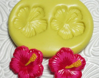 HIBISCUS DUO Flexible Silicone Rubber Push Mold for Resin Wax Fondant Clay Ice